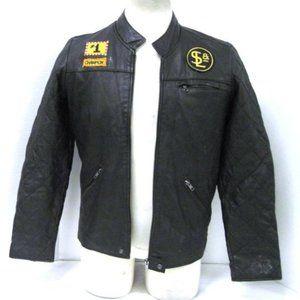 Men's L Kill City Leather Moto Jacket Patches